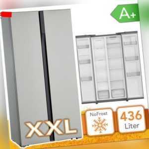 Side by Side Kühlschrank Kühl-Gefrierkombination A+ INOX...