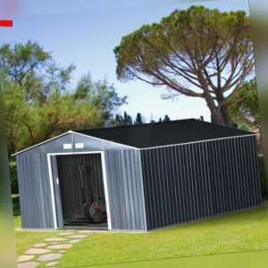 Outsunny Gerätehaus 24,5 m³ Geräteschuppen Gartenhaus mit Fundament Stahl