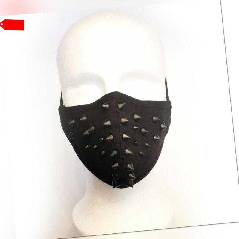 Schwarze Heavy Metal Mund-Nasenmaske mit Nieten Black Gothic PUNK RAVE Face Mask