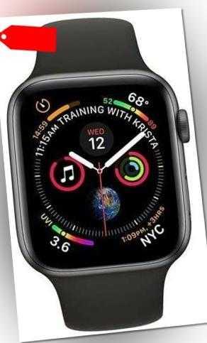 Apple Watch Series 4 44 mm GPS Aluminium: Silber, Sportarmband: Schwarz #Neuwert