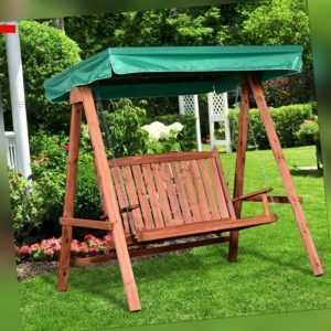 Outsunny Gartenschaukel für 2 Personen Hollywoodschaukel mit Dach Massivholz