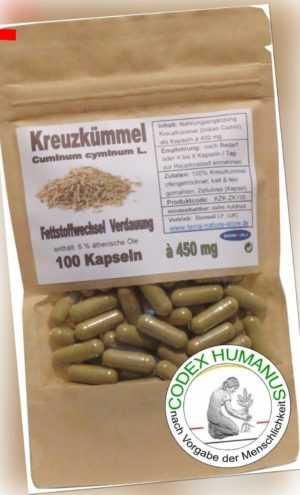 100 Kapseln 450 mg Kreuzkümmel Cumin FETTSTOFFWECHSEL  KNOCHENDICHTE  DARMMILIEU