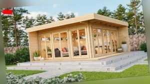 Gartenhaus MELANY 598x598cm, 70 mm Doppelnut, ISO-Glas, inkl Boden und Terrass