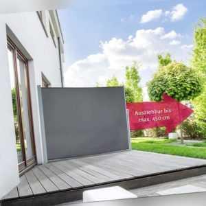 Seitenmarkise Sichtschutz Windschutz Sonnenschutz Terrasse 200 x 450 cm