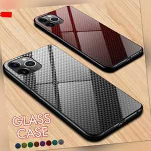 Hülle iPhone 11 X 8 7 Handy Schutzcase 3D Carbon Optik Cover Panzerfolie 9H Glas