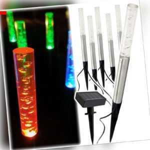 Solar LED Luftblasen Leuchten 6er Set Steck Lampen farbwechsler Solarleuchte