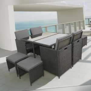 Arebos Polyrattan Set 9tlg.Gartenmöbel Essgruppe Sitzgruppe Gartenset Lounge