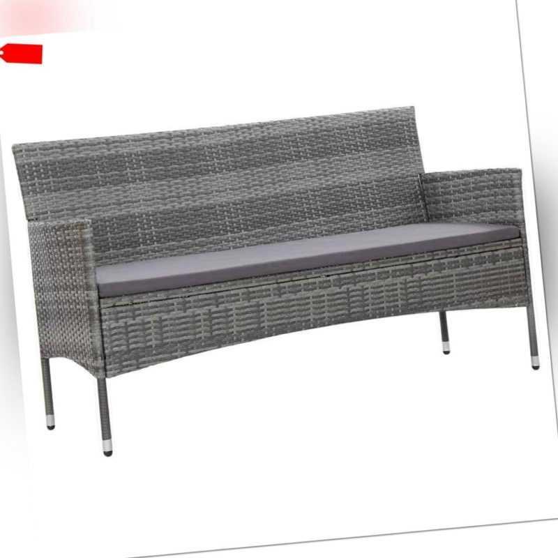 vidaXL Gartensofa 3er Grau Poly Rattan Gartenmöbel Sofa Gartenbank Lounge