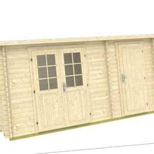 Angebot! Gartenhaus Blockbohlen 28 mm ca. 445 x 200 cm,  inkl. Fußboden 2 Räume!