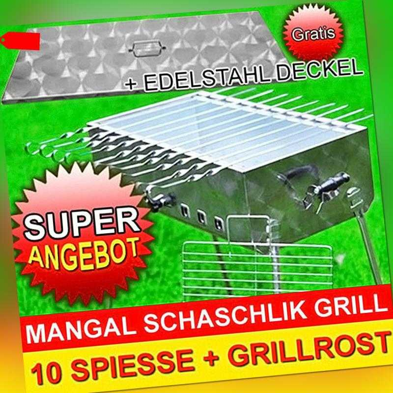 SCHASCHLIK GRILL MANGAL MEGA Edelstahl + DECKEL + 10 Spiesse Modell 2020