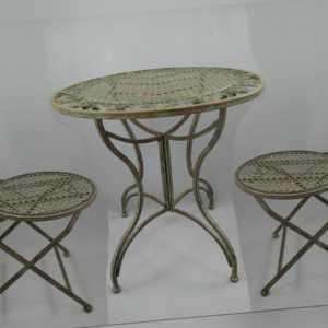 Gartenmöbel Set Sitzgruppe rustikal grün Antikstil Eisen 1 Tisch 2 Stühle