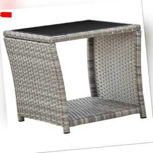 vidaXL Couchtisch Grau Poly Rattan Glas Beistelltisch Gartentisch Teetisch
