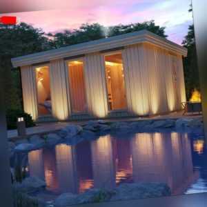 Outdoorsauna ARDOR von ISIDOR, Sauna aus Massivholz mit Vorraum ca. 18m² Fläche