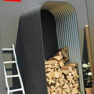 Kaminholzregal Lignum 858 granit/hoch, Zincalume Holzunterstand, Brennholzlager