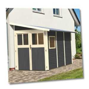 Gartenhaus Gerätehaus Schuppen Geräteschuppen Holz HORI Randers grau 181 x 268