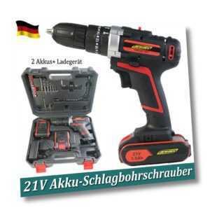 Akku-Schlagbohrschrauber 21V 45Nm 1.5Ah LED mit 2 Akkus + Schnellladegerät
