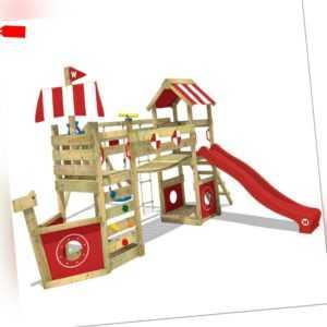 WICKEY Spielturm Klettergerüst StormFlyer mit Schaukel und roter Rutsche