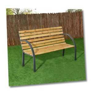 Gartenmöbel Gartenbank 2-Sitzer Holzbank Parkbank Metall Sitzbank Bank ArtLife®