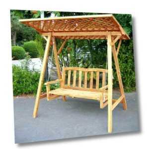 Holz Hollywoodschaukel Gartenschaukel Garten Schaukel Bank Dach Neu Lounge Neu