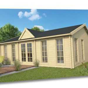 70mm Gartenhaus ISO + Fußboden 820x520 cm Clockhouse Holz Holzhaus Blockhaus