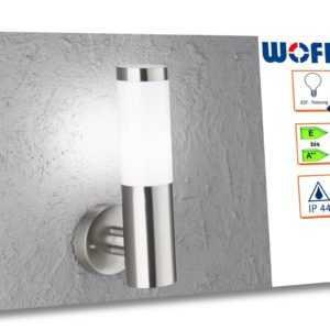 Außenwandleuchte Edelstahl H. 33,5cm, Fassadenbeleuchtung Außenbeleuchtung E27