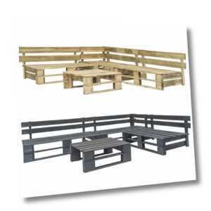 vidaXL Holz Garten Sofagarnitur 4-tlg. Paletten Ecksofa Sofa Lounge Grün/Grau