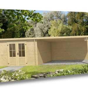 Lasita Maja Gartenhaus ONTARIO, 312x701cm, 40mm Wände, 4m Anbau, AKTIONSPREIS