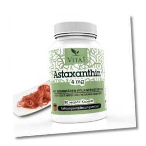 VITA1 Astaxanthin Kapseln 90 vegane Kapseln a 4mg Antioxidantien 1380 ORAC