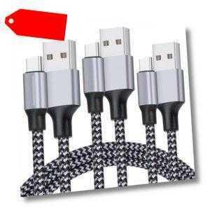 3x 2m Typ C USB-C schnell Ladekabel Samsung / Huawei Nylon Fast Charge metallic