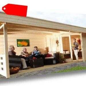 Wolff Finnhaus Holz Gartenhaus 5-Eck 28mm Nina 28-B Natur Flachdach mit Terrasse