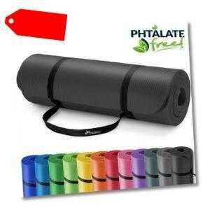 Yogamatte Fitnessmatte Gymnastikmatte Pilates Bodenmatte 185x60x1,0cm Schwarz