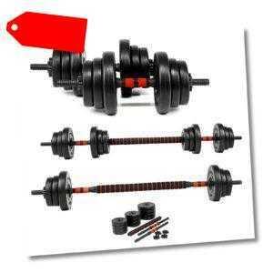 20kg Lang- Kurzhantel Hantel Set Gewichte Hantelscheiben Krafttraining 2 in1