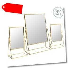 3x Frisierkommode Rasierspiegel Set Free Standing Tabletop Makeup 2 Größen Gold-