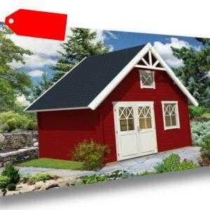 Alpholz Schwedenhaus 44 Holz 418 x 418 cm 44 mm Satteldach Gartenhaus Gerätehaus