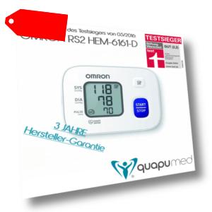TESTSIEGER - OMRON RS2 (HEM-6161-D) Automatisches Handgelenk-Blutdruckmessgerät