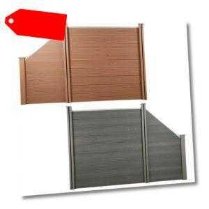 WPC Zaun 1,8 & 1,0m Höhe Sichtschutzzaun Lamellenzaun Windschutz Zaunelement