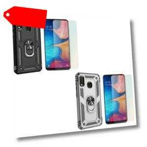 NALIA Ring Handy Hülle für Samsung Galaxy A20e, Case Cover Display Schutz Glas