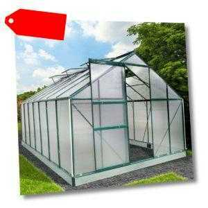BRAST Gewächshaus Aluminium mit Fundament 17,2m³ Grün 6mm Treibhaus Glashaus
