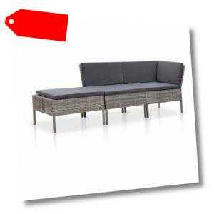 vidaXL Gartenmöbel 3-tlg. Poly Rattan Grau Lounge Sofa Garnitur Sitzgruppe
