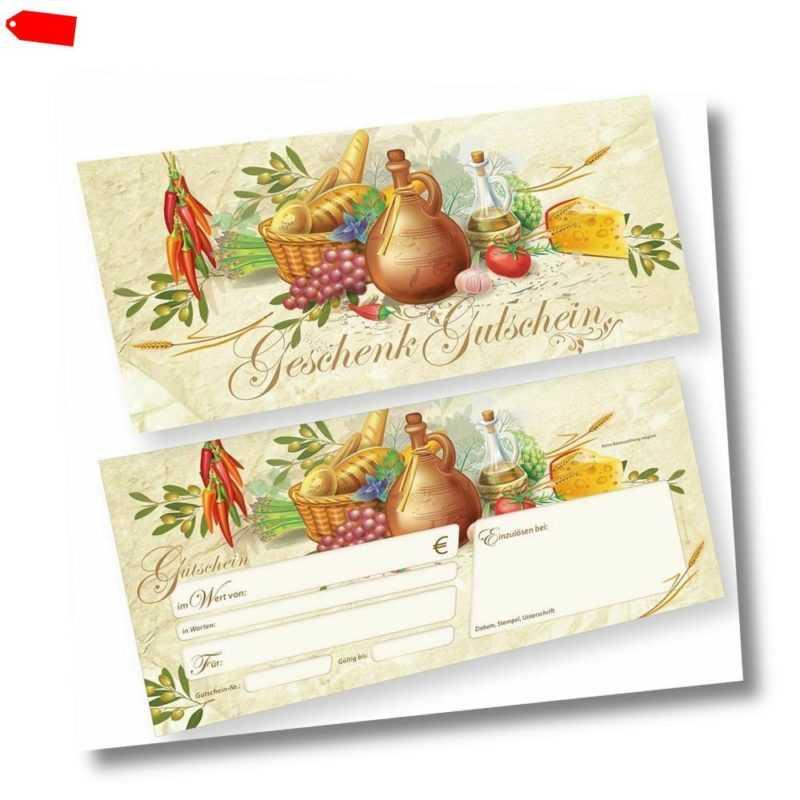 Geschenkgutscheine für Gastro (100 Stück) Gutscheine für Gastronomie Pizzeria