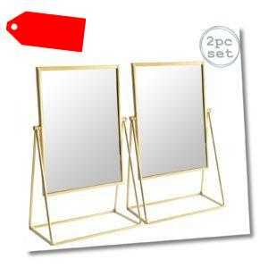2x Frisierkommode Rasierspiegel Set Free Standing Tabletop Makeup 22cm Gold-