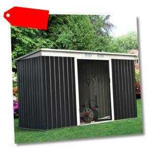 Outsunny Gerätehaus Gartenhaus Geräteschuppen mit Schiebetür Outdoor Stahl