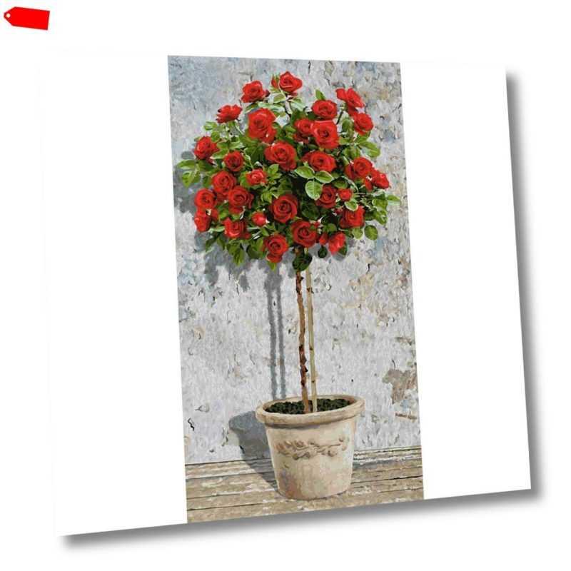 Rosenbäumchen Rot - Schipper Malen nach Zahlen 40x80 cm Meisterklasse Hochformat