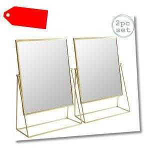 2x Frisierkommode Rasierspiegel Set Free Standing Tabletop Makeup 32cm Gold-