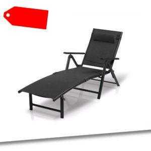 Liegestuhl Gartenliege Sonnenliege Liege Aluminium Schwarz FLORABEST B-Ware