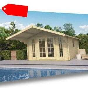 Topangebot Gartenhaus SÖREN, ca 380x380 cm, 45 mm, Blockhütte TUINDECO