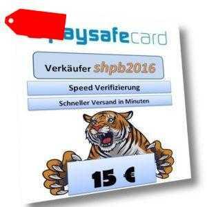 Paysafe Card 15€ Versand bis 15 Min nach Kaufabwicklung via Ebay-Email 9-23Uhr