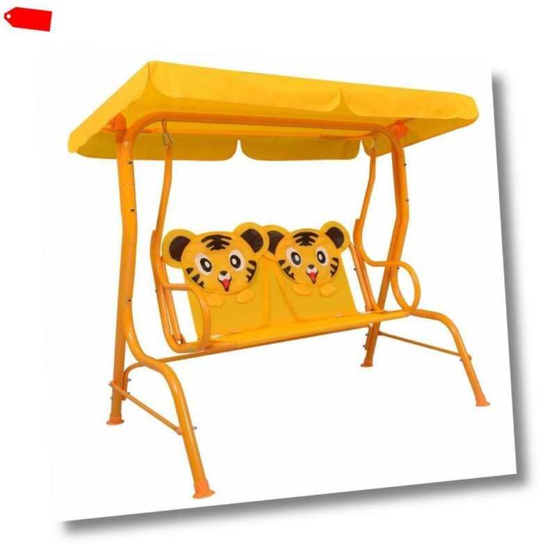 vidaXL Kinder Hollywoodschaukel Gelb Stoff Kinderschaukel Gartenschaukel
