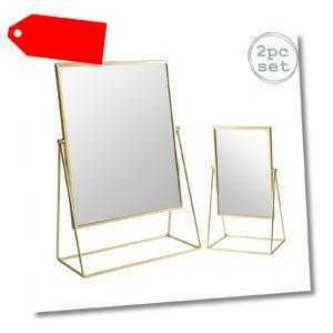 2x Frisierkommode Rasierspiegel Set Free Standing Tabletop Makeup 2 Größen Gold-
