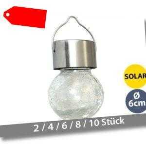 Hängelampe LED Solar Gartenleuchte Hänge-Leuchte Deko Glühbirne Glas + Edelstahl
